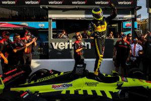 Sebastien Bourdais celebrates his Pole win at ISM Raceway. [credit Andy Clary / Spacesuit Media]