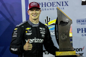 Josef Newgarden and the trophy for winning the Desert Diamond West Valley Casino Phoenix Grand Prix. [credit Andy Clary / Spacesuit Media]