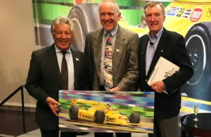 Mario Andretti, Randy Owens and Johnny Rutherford at the RRDC dinner. [Photo by Eddie LePine]