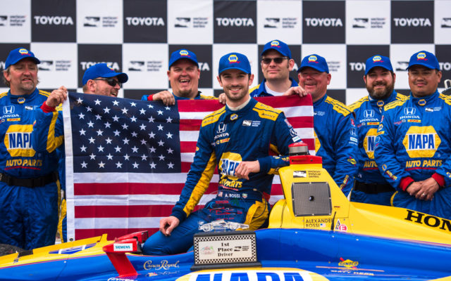 Alexander Rossi and the NAPA team in victory lane at the Toyota Grand Prix of Long Beach.  [credit Dan Bathie / Spacesuit Media]