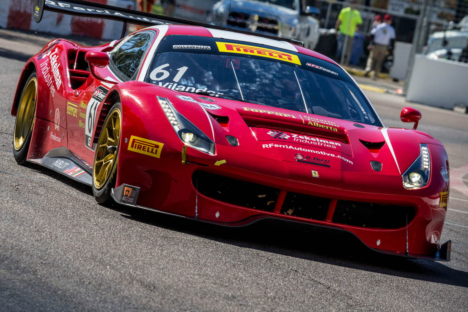Toni Vilander in the #61 R. Ferri Motorsport Ferrari 488 GT3. [photo courtesy Pirelli World Challenge]