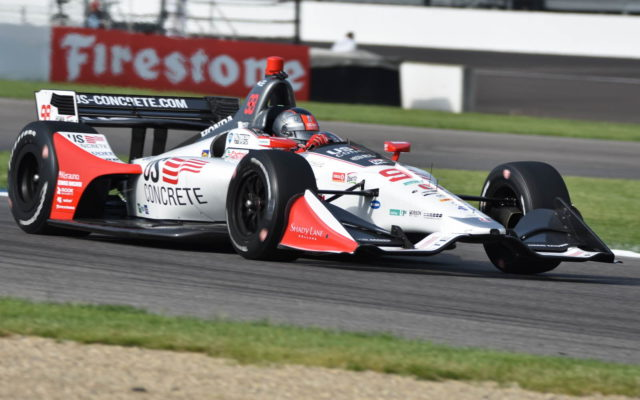 Marco Andretti on track at the Indianapolis Motor Speedway, practicing for the INDYCAR Grand Prix.  [John Wiedemann Photo]