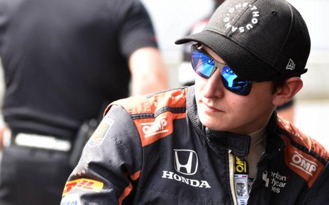 Zach Veach prior to qualifying for the INDYCAR Grand Prix.  [John Wiedemann Photo]