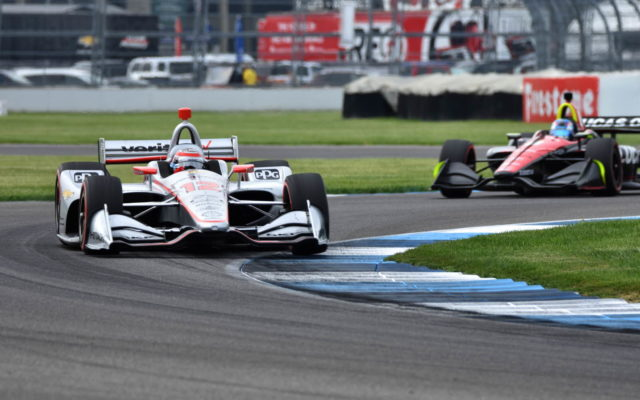 Will Power leads Robert Wickens – INDYCAR Grand Prix, Indianapolis Motor Speedway.  [John Wiedemann Photo]