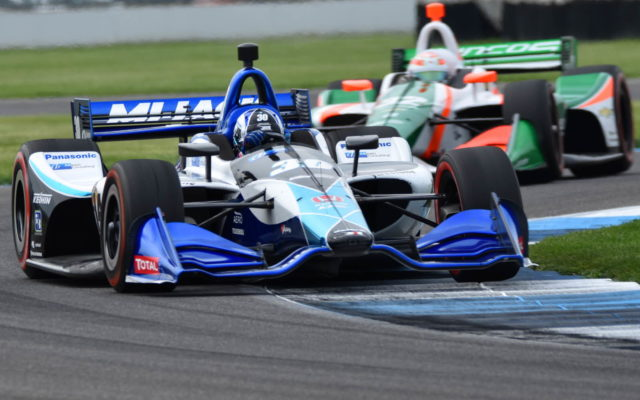 Takuma Sato (30) and Kyle Kaiser (32) – INDYCAR Grand Prix, Indianapolis Motor Speedway.  [John Wiedemann Photo]