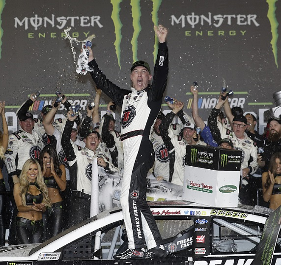 Kevin Harvick took the checkered flag in Saturday night's Monster Energy NASCAR All-Star Race at Charlotte Motor Speedway, collecting his first win in the star-studded event since 2007. (HHP/Andrew Coppley photo)