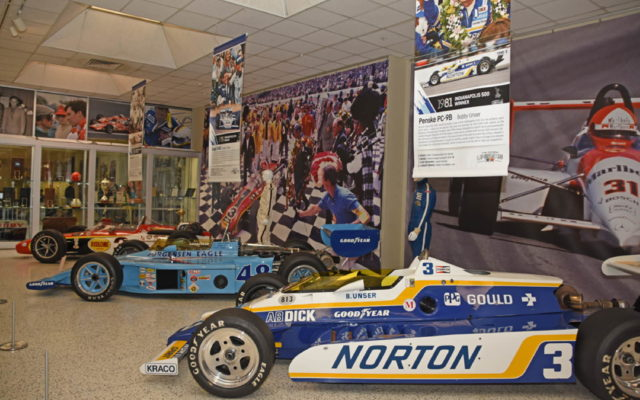 Room 1 has Indianapolis 500 winning cars driven by the Unsers.  [Joe Jennings Photo]