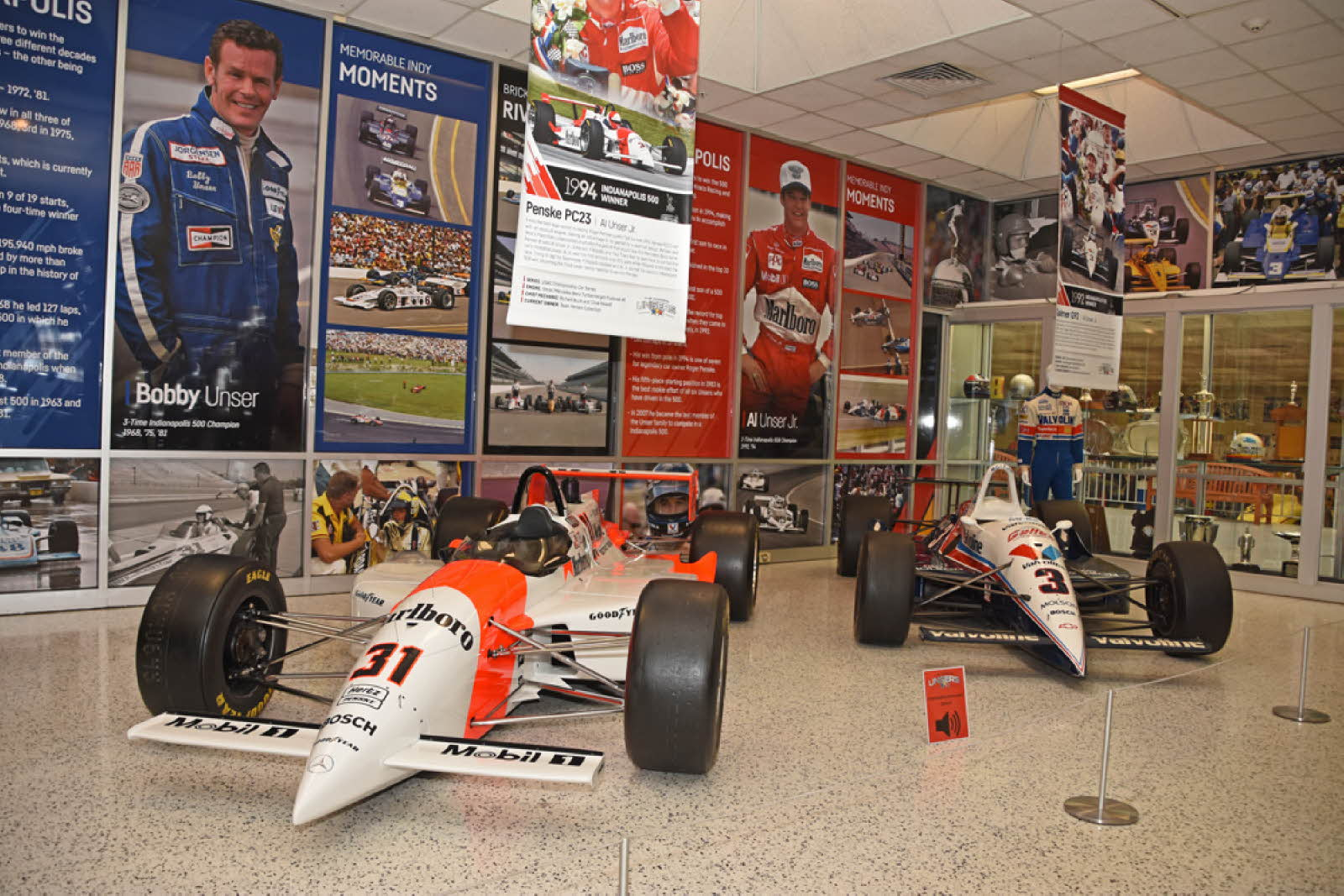 Al Unser, Jr.'s winning cars. [Joe Jennings Photo]