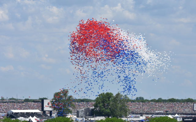 A balloon release as part of the opening ceremonies of the 102nd Indianapolis 500.  [John Wiedemann Photo]