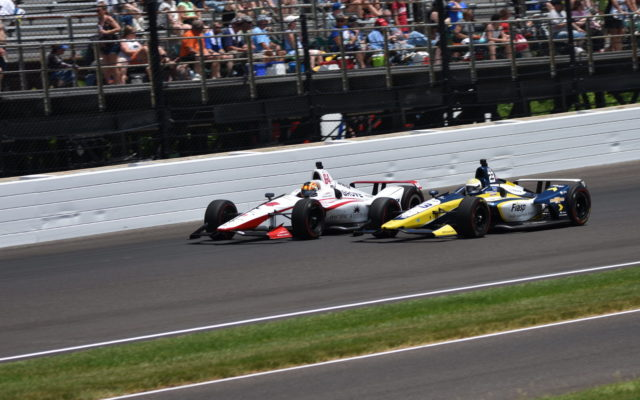 Oriol Servia (64) battling with Charlie Kimball (23) in the 2018 Indianapolis 500.  [John Wiedemann Photo]