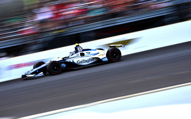 Max Chilton races onto the front stretch at the Indianapolis Motor Speedway.  [John Wiedemann Photo]