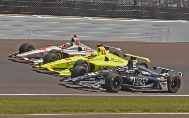 Row 1 of Ed Carpenter, Simon Pagenaud and Will Power prepare to take green flag in the 102nd Indianapolis 500.  [Joe Jennings Photo]
