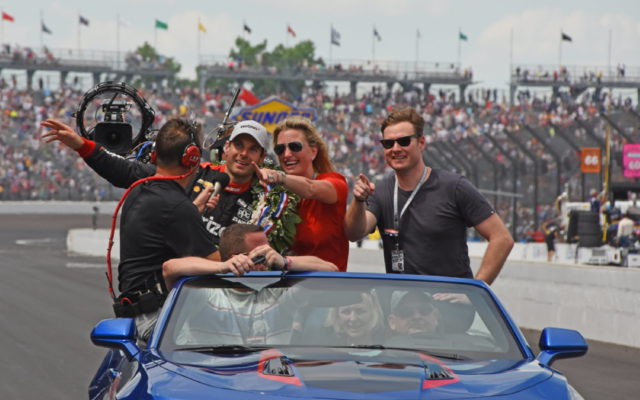 Will Power and his wife, Liz, take ceremonial lap around IMS with ABC-TV crew.  [Joe Jennings Photo]