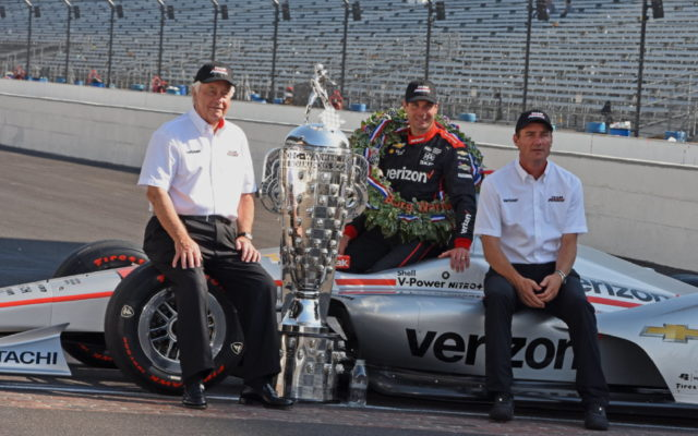 Winning team of Roger Penske, Will Power and team president Tim Cindric.  [Joe Jennings Photo]