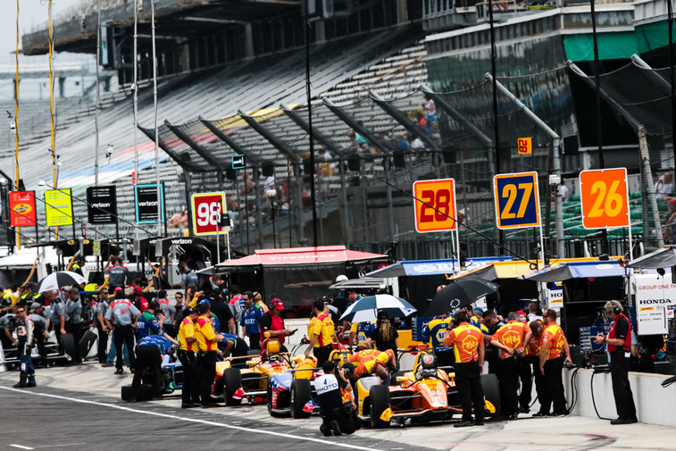 The Andretti Autosport team works on their cars at the Indianapolis Motor Speedway. © [Andy Clary / Spacesuit Media]