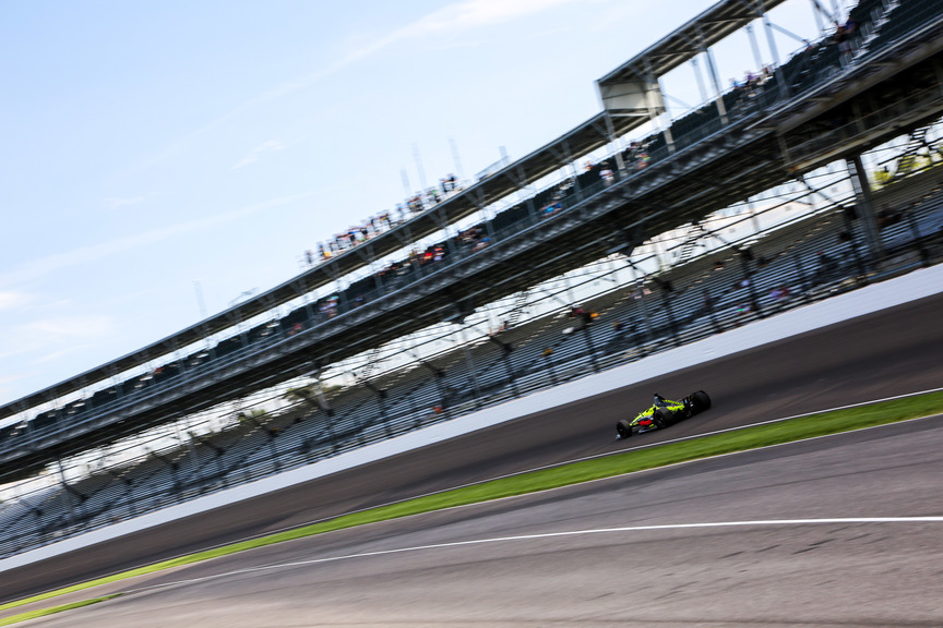 Sebastien Bourdais during practice at the Indianapolis Motor Speedway. © [Andy Clary / Spacesuit Media]