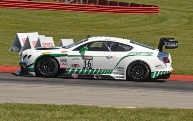 2015 image of Chris Dyson piloting Bentley Continental in Pirelli World Challenge race at Mid-Ohio.  [Joe Jennings Photo]