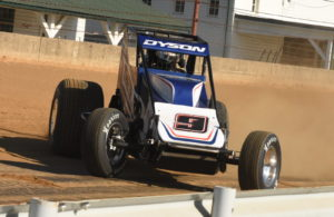 Chris Dyson slides through first turn at Indiana State Fairgrounds. [Joe Jennings Photo]