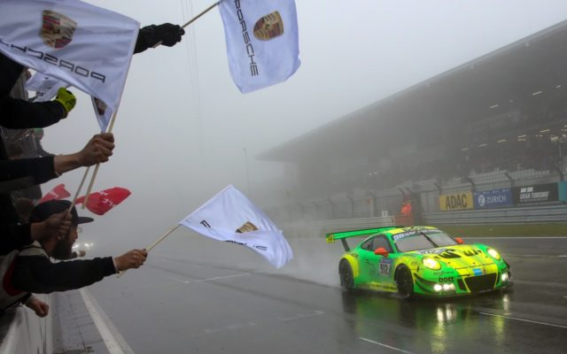 Victory for Porsche at the 24 Hours of Nurburgring in 2018.  [photo by Porsche Motorsport]