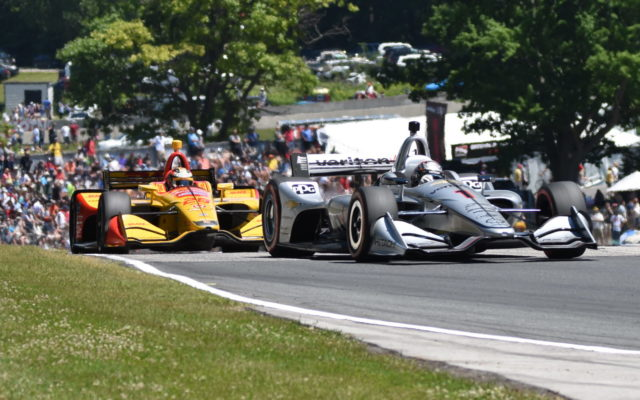 Josef Newgarden and Ryan Hunter-Reay in turn six at Road America.  [John Wiedemann Photo]