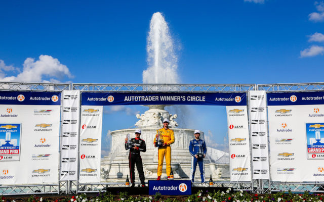 The podium of the Detroit Grand Prix at Belle Isle: Will Power (2nd), Ryan Hunter-Reay (winner), Ed Jones (3rd).  © [Andy Clary / Spacesuit Media]