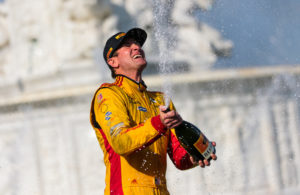 Ryan Hunter-Reay celebrates a return to victory lane in the Verizon IndyCar Series at Belle Isle. © [Andy Clary / Spacesuit Media]