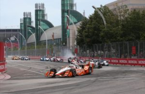 Josef Newgarden leads the field into Turn 1 during the Honda Indy Toronto. [Joe Skibinski Photo]
