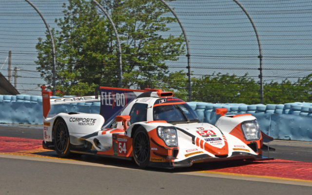 Pole winning CORE Autosport team cruises over rumble strips en route to first place.  [Joe Jennings Photo]