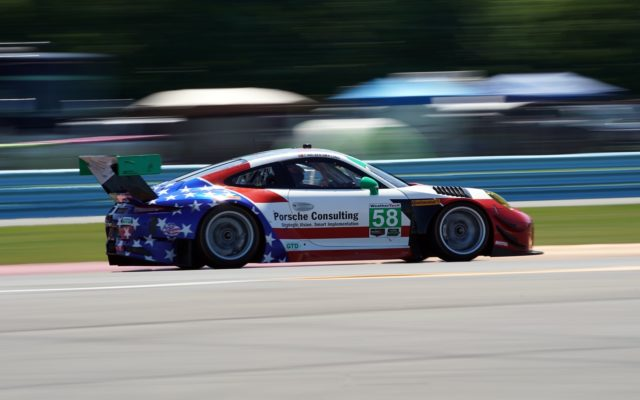 Wright Motorsports Porsche at speed.  [Photo by Jack Webster]