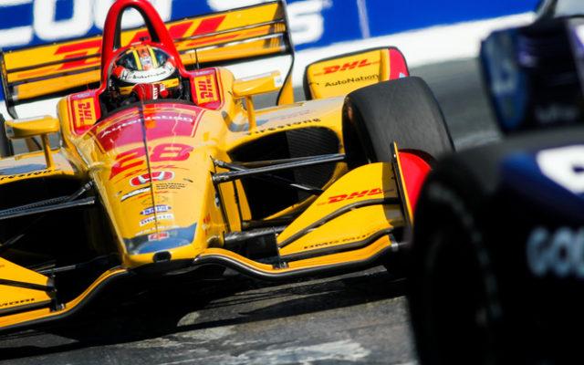 Ryan Hunter-Reay in traffic in the Honda Indy Toronto.  © [Adam Piggot / Spacesuit Media]