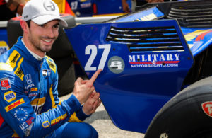 Alexander Rossi celebrates winning the pole at Mid-Ohio. © [Andy Clary / Spacesuit Media]