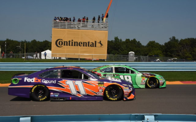 Front row starters Kyle Busch and Denny Hamlin pass by spotter's stand in the Esses.  [Joe Jennings Photo]