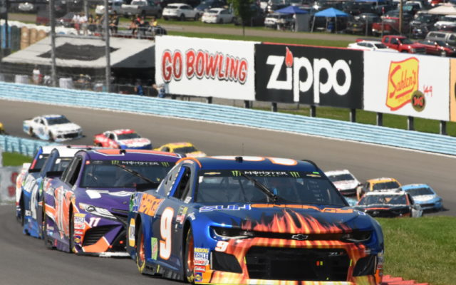 At the start, Chase Elliott is shown leading pole winner Denny Hamlin.  [Joe Jennings Photo]