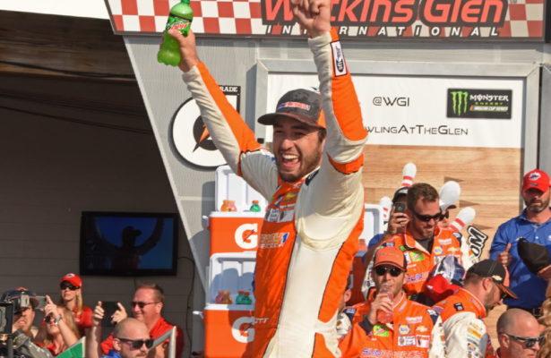 Winner Chase Elliott gives victory salute. [Joe Jennings Photo]