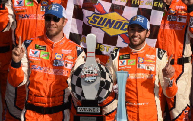 Winning team, including crew chief Alan Gustafson and Chase Elliott in victory lane.  [Joe Jennings Photo]