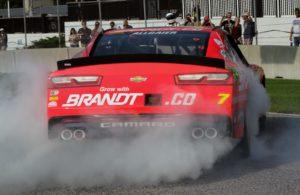 Justin Allgaier celebrates winning the the NASCAR Xfinity Series Johnsonville 180 at Road America. [Tyler Jensen Photo]