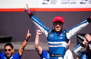 Takuma Sato celebrates his victory at the Grand Prix of Portland. © [Dan Bathie / Spacesuit Media]