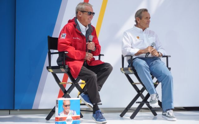Hurley Haywood and Jacky Ickx at the Fan Forum.  [Photo by Jack Webster]