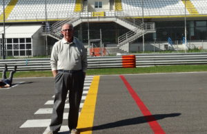 Paul Gohde stands at the finish line on the Autodromo Nazionale Monza track. [Paul Gohde collection]