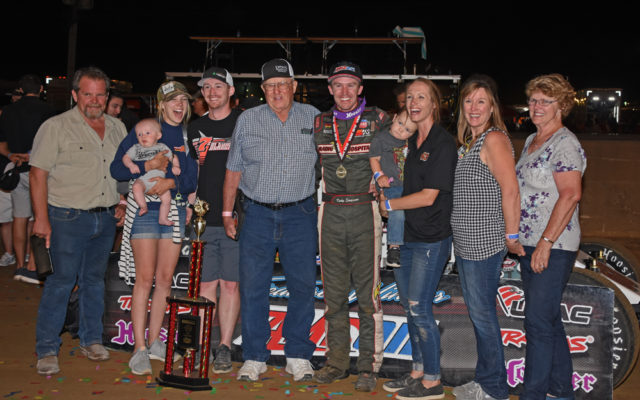 Kody Swanson and family all aglow in victory lane after Kody won the Hoosier 100 for the fourth consecutive time.  [Joe Jennings Photo]