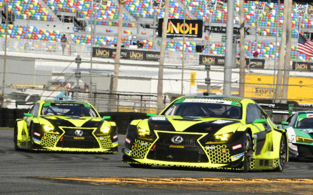 A pair of Lexus RCF GT3s careen around a turn.  [Joe Jennings Photo]