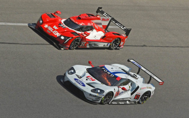 Ford GT and No. 31 Whelen Engineering Cadillac run side-by-side.  [Joe Jennings Photo]