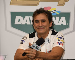 Alex Zanardi flashes his smile during a media session at Daytona. [Joe Jennings Photo]