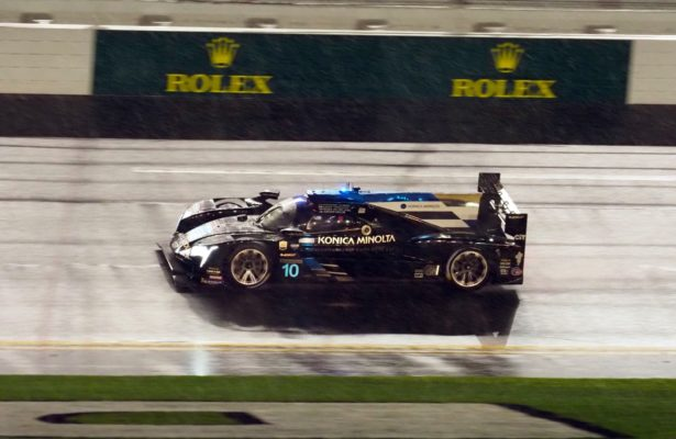 Winning car in the rain. [Photo by Jack Webster]