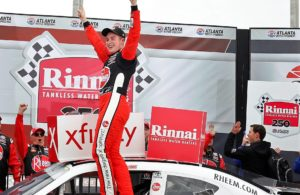 Christopher Bell led a race-high 142 of 163 laps in winning Saturday's Rinnai 250 at Atlanta Motor Speedway. (HHP/Andrew Coppley photo)