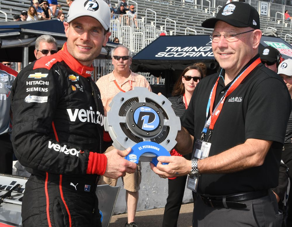 Will Power receives the first and unique NTT P1 award. [Joe Jennings Photo]