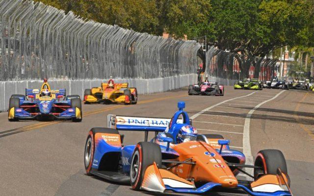 Scott Dixon leads a swarm of cars through the kink.  [Joe Jennings Photo]
