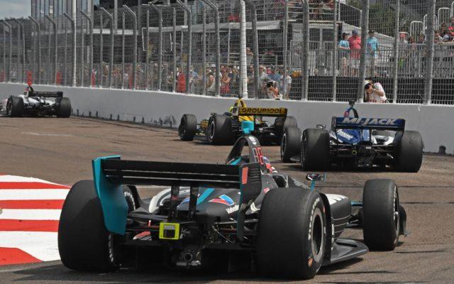 Cars run closely through Turn 10 at St. Petersburg.  [Joe Jennings Photo]