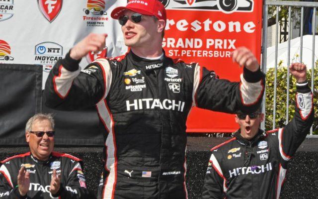 Winner Josef Newgarden salutes the crowd in victory lane.  [Joe Jennings Photo]