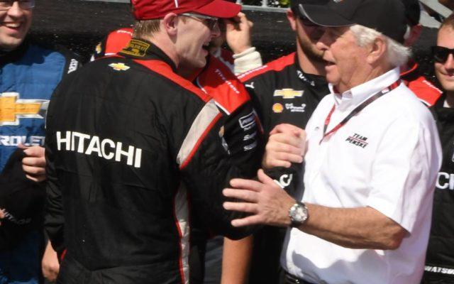 Winner Josef Newgarden greeted by team owner Roger Penske.  [Joe Jennings Photo]